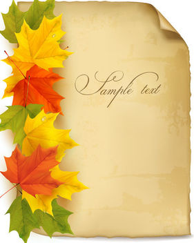 Colorful Maple Leafs on Grungy Old Paper - бесплатный vector #165427