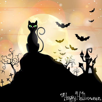 Cat Sitting on Hill Hunted Halloween Background - бесплатный vector #165437