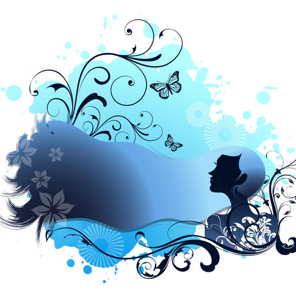 Spa Themed Blue Girl with Swirling Floral - Free vector #165457