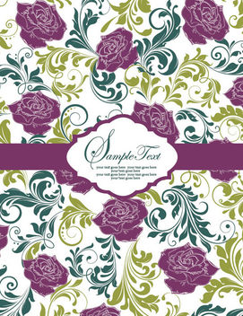 Floristic Vintage Pattern Template Card - Free vector #165467