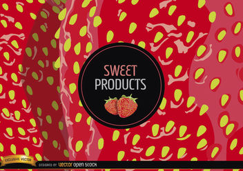 Strawberry background and label - Free vector #165497