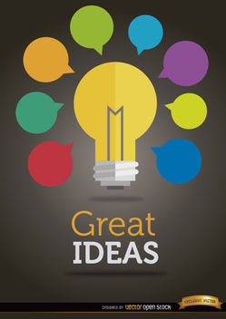 Colorful ideas light bulb - Free vector #165507