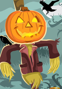 Halloween scarecrow pumpkin head - Free vector #165757