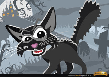 Creepy Cartoon Cat on Graveyard Halloween Background - vector gratuit #165827