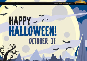 Hunted Halloween poster bats flying over moon - Free vector #165837