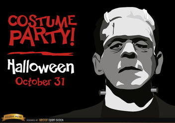 Halloween invitation party Frankenstein's Monster - бесплатный vector #165927