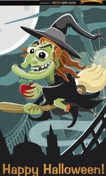 Evil witch flying Halloween poster - Free vector #165967