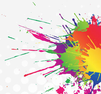 Colorful Splatter Stain Paint with Halftone - vector gratuit #166007