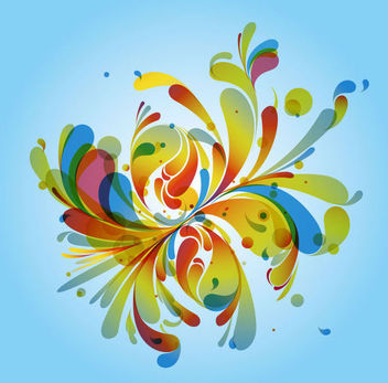 Colorful Swirling Splashed Background - vector gratuit #166097