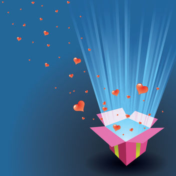 Valentine Card Hearts Floating Out of a Box - vector gratuit #166147