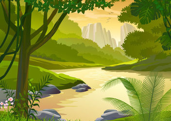 Forest Side River Cartoon Landscape - vector gratuit #166307