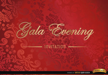 Red floral invitation card - Free vector #166327