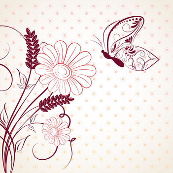 Circular Pattern with Abstract Floral & Butterfly - Free vector #166347