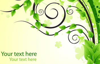 Green Swirls & Leaves Background with Droplet - Free vector #166367