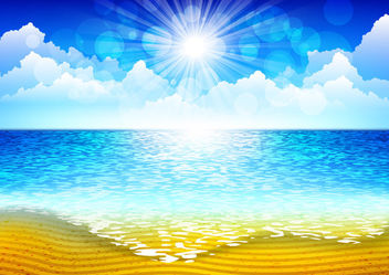 Sea Beach with Sunlight Sky - vector gratuit #166397