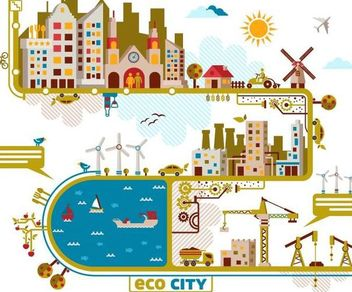 Funky Style City Info-graphic Set - Kostenloses vector #166527