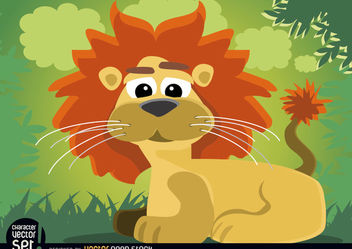 Cartoon lion animal sitting in jungle - vector gratuit #166587