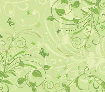 Fresh Floral Background with Funky Butterflies - vector #166637 gratis
