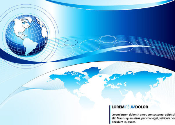 Blue Business Globe Background Template - Free vector #166837