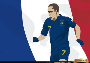 France player Franck Ribery with flag - Kostenloses vector #166857