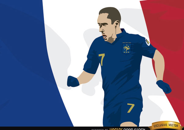 France player Franck Ribery with flag - vector #166857 gratis