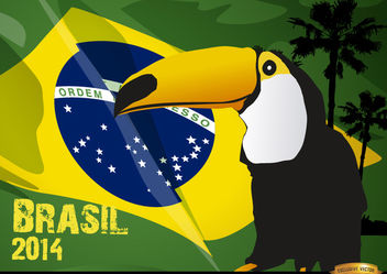 Toucan and Brasil flag 2014 - Free vector #166877