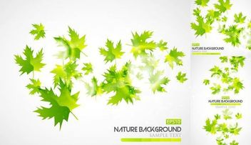 Abstract Green Autumn Leaves Background - vector gratuit #166897