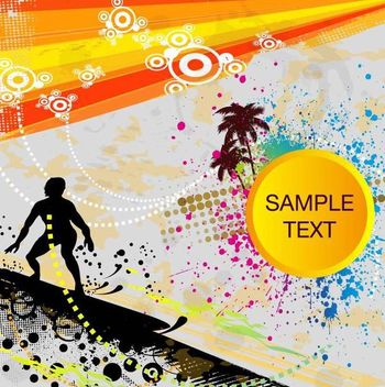 Summer Themed Grungy Surfer Background - Kostenloses vector #166907