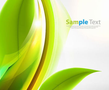 Green Abstract Eco Background with Leaf & Curves - Free vector #166937