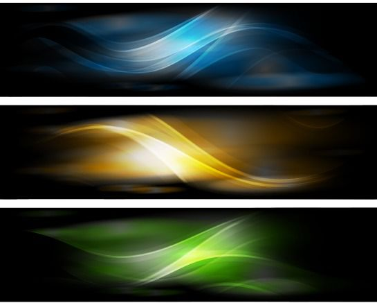 3 Fantasy Banners with Glossy Waving Curves - vector gratuit #166947