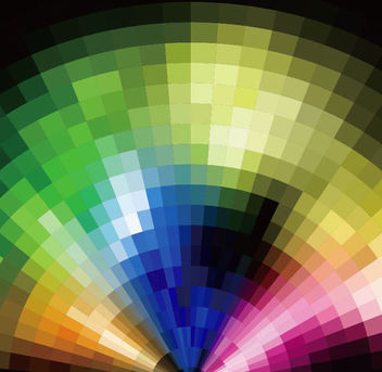 Colorful Radial Tilled Mosaic Background - Free vector #167017