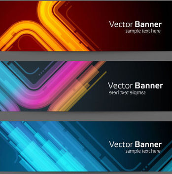 3 Neon Glow Tech Banners - Free vector #167047