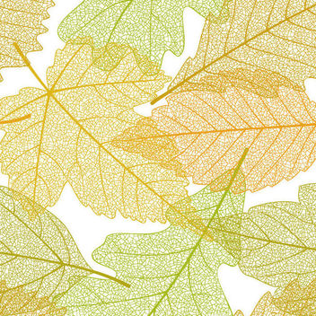 Seamless Linen Autumn Leaves Pattern - Free vector #167057