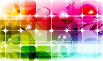 Fluorescent Colorful Squares Background with Swirls - vector gratuit #167077