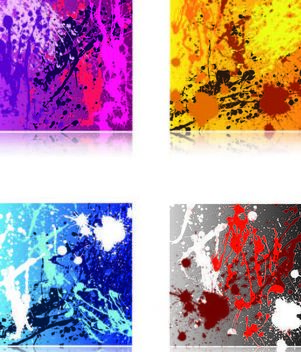 Colorful Grungy Paint Splatter Texture Set - vector gratuit #167087