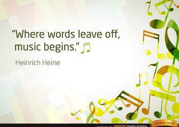 Musical notes background with quote - vector gratuit #167107