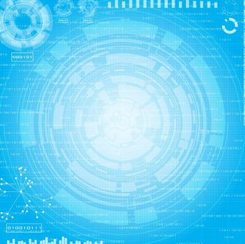 High Tech Blue Circles Background - vector gratuit #167177