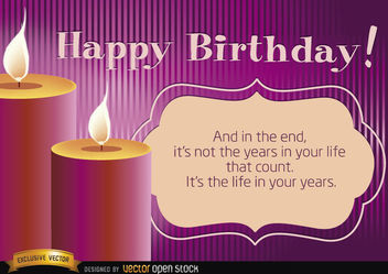 Happy birthday candles with life message - Kostenloses vector #167207