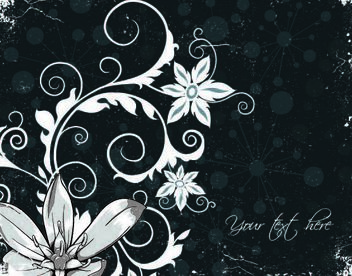 Floral Grungy Background with Swirling Floral Steams - vector #167227 gratis