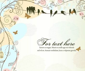 Funky Antique Floral Template with Birds - Kostenloses vector #167287