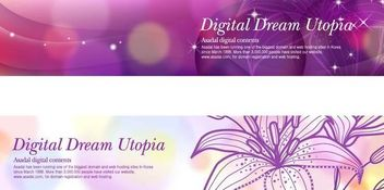 Glowing Header Banner Template with Lily - vector gratuit #167417