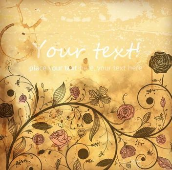 Retro Grungy Background with Roses - Free vector #167437