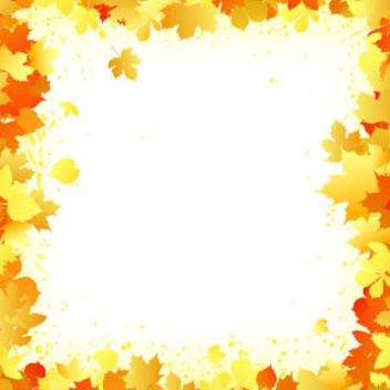 Autumn Leaves Frame with Grungy Splats - vector gratuit #167447