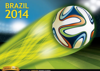 Brazil 2014 ball thrown in stadium - vector gratuit #167507