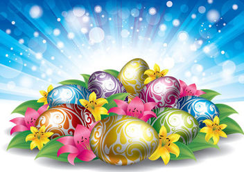 Glowing Easter Background with Eggs & Flowers - vector #167537 gratis