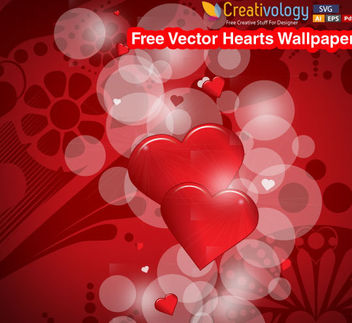 Glossy Hearts with Bubbles - Free vector #167567