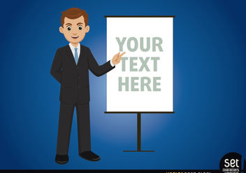 Businessman with message board - Free vector #167577