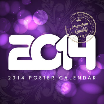 2014 Poster with Floral & Lights - Kostenloses vector #167827