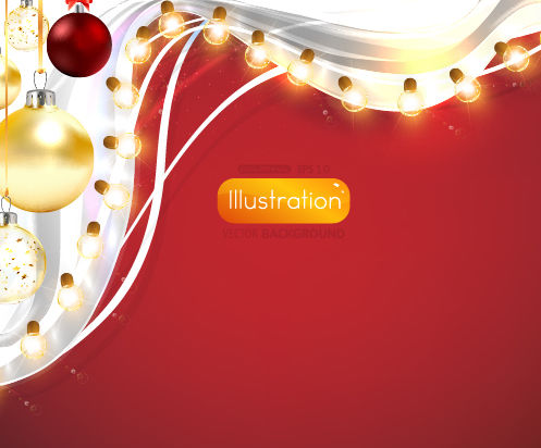 Ornamental Xmas Card with Light Decoration - Free vector #167877
