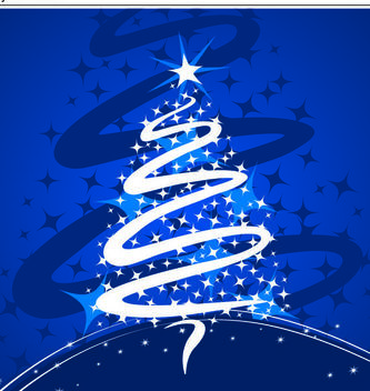 Xmas Tree Formed with Stars & Swirl - Free vector #167897
